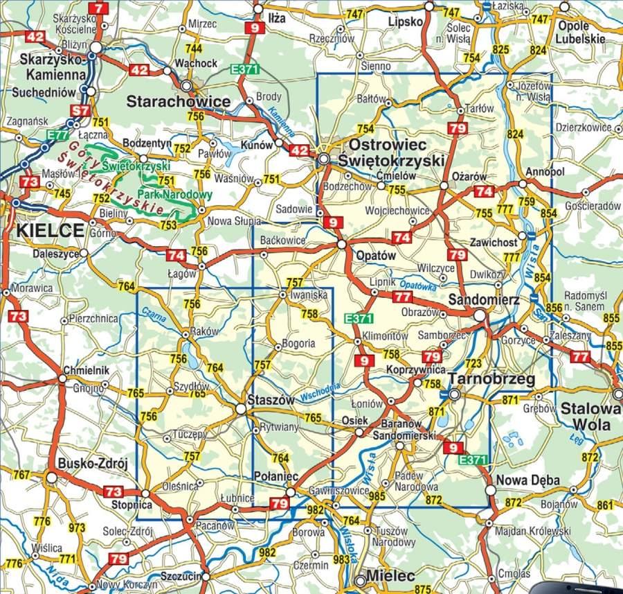 Wyzyna Sandomierska Mapa Turystyczna Compass