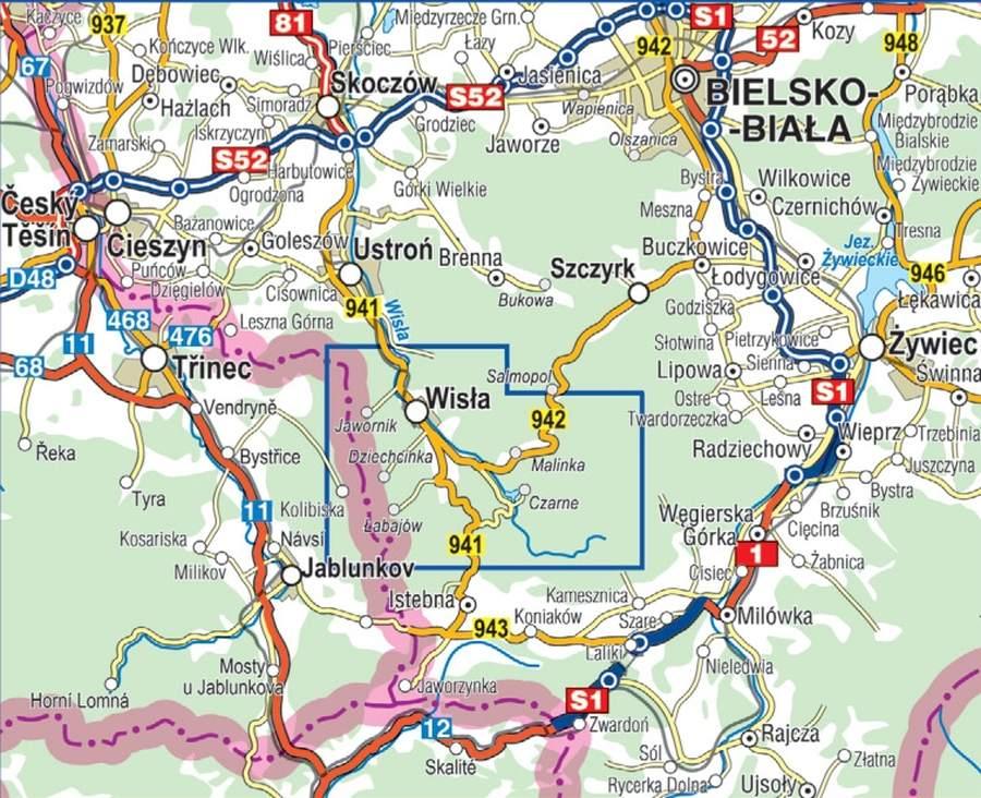 Wisla Mapa Laminowana Compass
